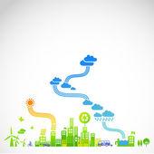 """""""eco-città"""" - moderna città illustrazione ecologico — Vettoriale Stock"""