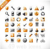 New set of 49 glossy web icons and design elements in orange and gray — Stock Vector