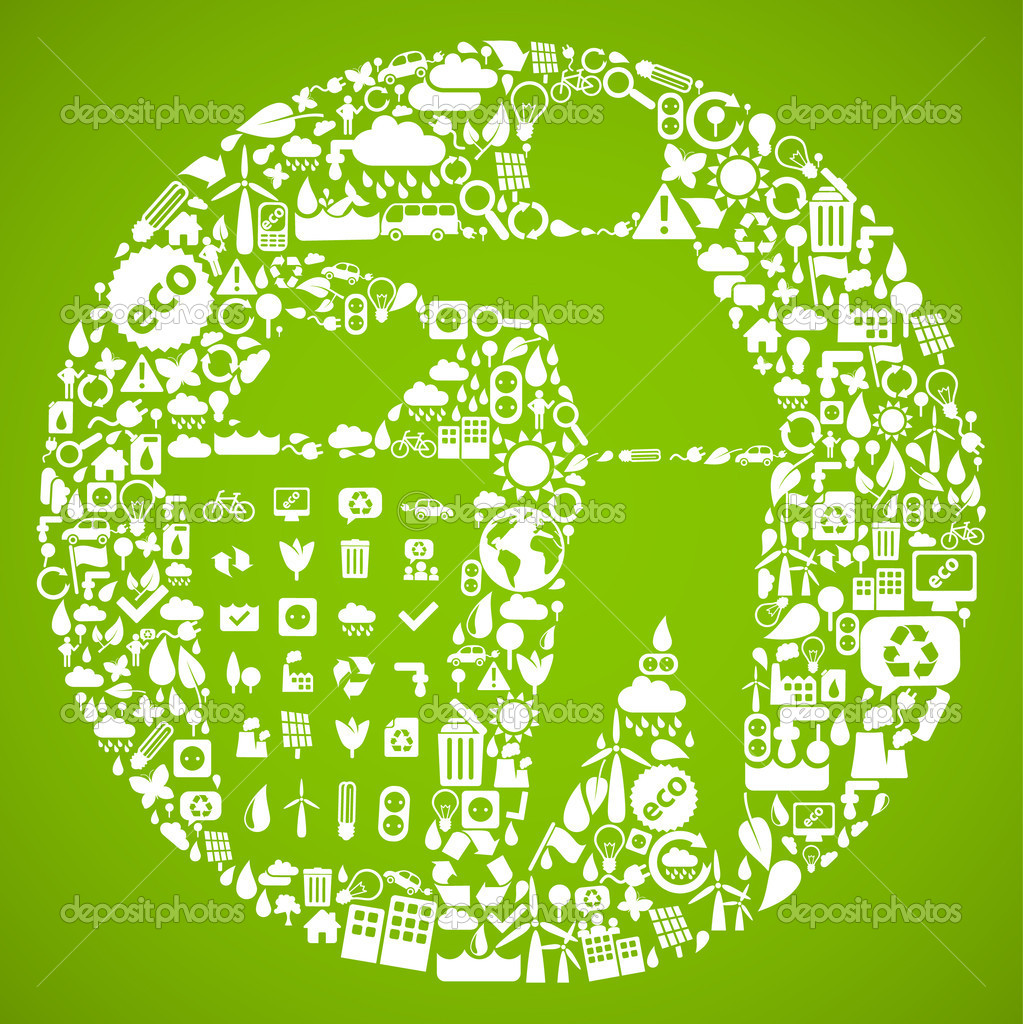垃圾桶符号由小生态图标-可持续发展的概念