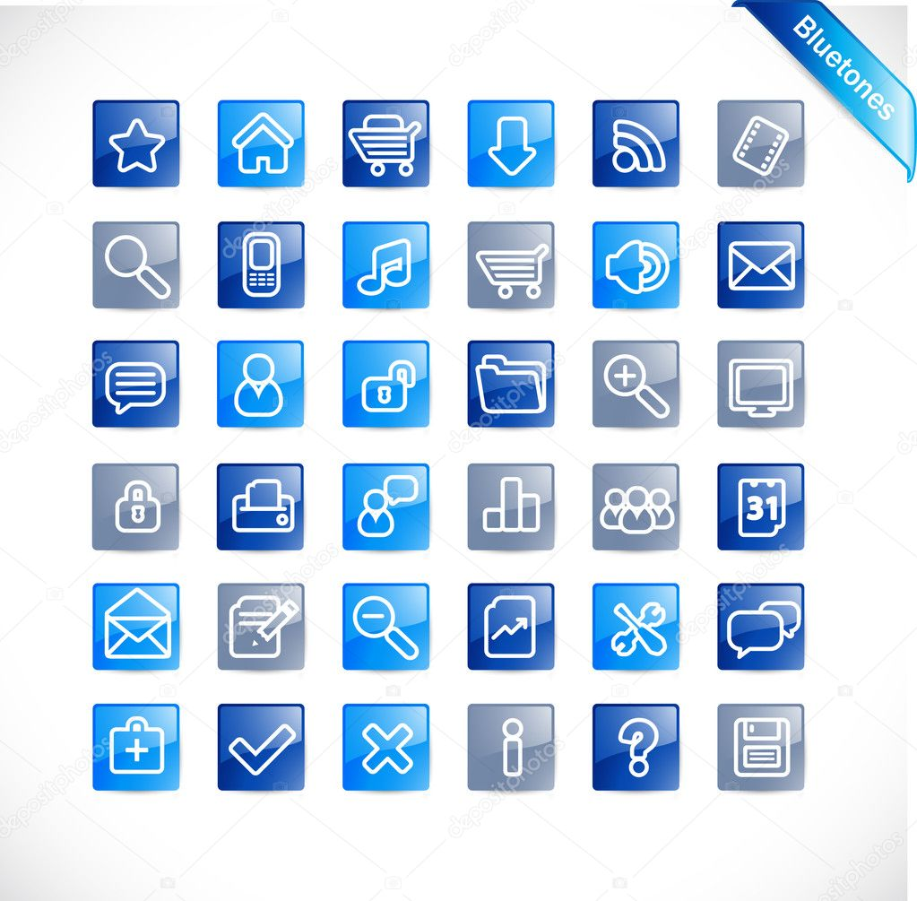 Bluetones - blue glossy icons  Stock Vector #11228094