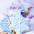 Christmas cookies blue stars — Stock Photo