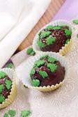 Chocolate pralines with christmas trees — Stock Photo