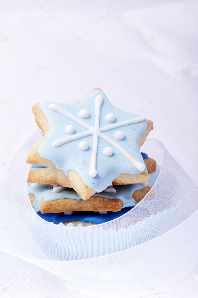 Christmas cookies, Christmas biscuits, Christmas baking, bakery, blue stars, — Stock Photo #11950189