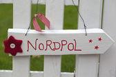 Letrero de madera blanca al polo norte — Foto de Stock