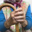 Hands of an old woman with a cane — Stock Photo #11142657