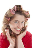 Woman with hair rollers — Stock Photo