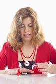 Kobieta malowanie paznokci — Zdjęcie stockowe