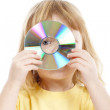 Boy holding cd — Stock Photo