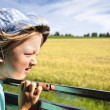 Boy looking out the train window — Stock Photo
