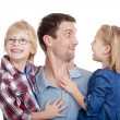 Father and his two children - Stock Photo