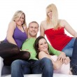 Group of four friends smiling — Stockfoto