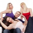 Group of four friends smiling - Stock Photo
