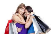 Meninas com sacos de compras — Fotografia Stock