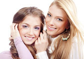 Two sisters smiling — Stock Photo