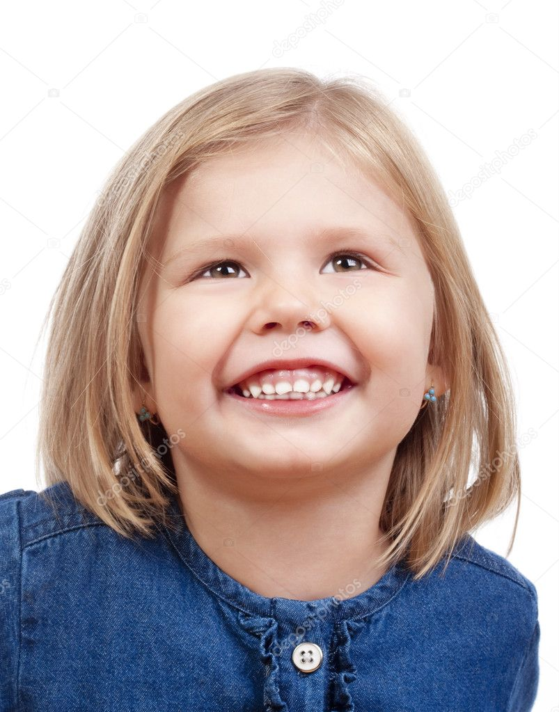 Portrait of a happy little girl with blond hair smiling - isolated on white — Stock Photo #11338597