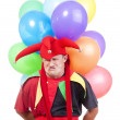 Jester with balloons — Stockfoto