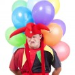 Jester with balloons — Stock Photo