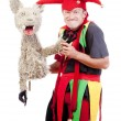 Jester with a puppet — Stock Photo