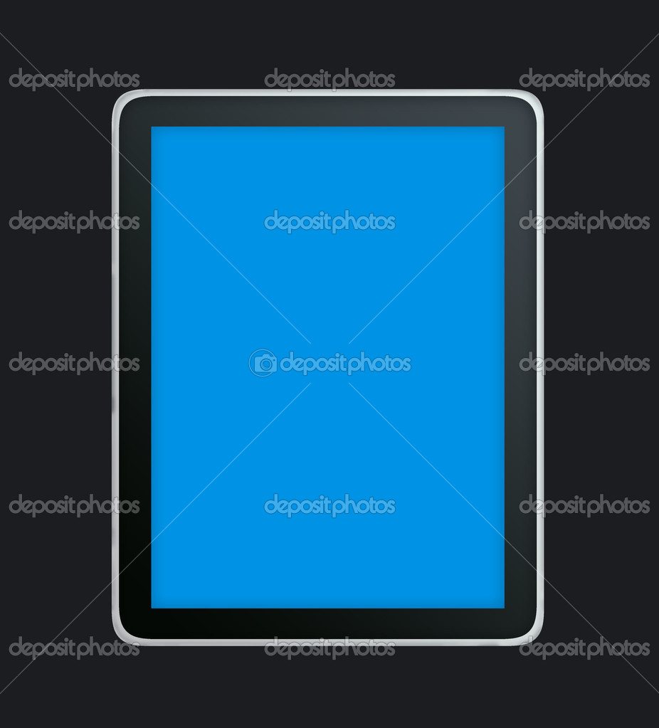 This illustration of a tablet contains a blue screen. That means that you easily can paste your own screen into the tablet — Zdjęcie stockowe #11314478