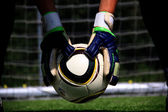Goalkeeper with the ball — Stock Photo