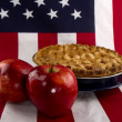 Patriotic Flag/Apple Pie Closeup — Stock Photo