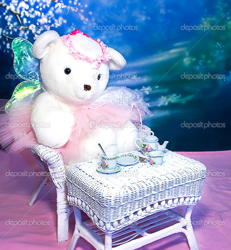 Generic Teddy Bear having tea time in her tutu and wings — Stock Photo #11198077