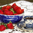 Antique Flow Blue &amp;amp; Strawberries - Stock Photo