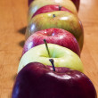 Stock Photo: Just Apples Lined Up