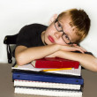 Tired Young Boy at School — Stock Photo