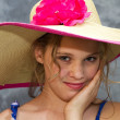 Girl Wearing Huge Sunhat — Stock Photo