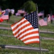 American Flag in Graveyard — Stock Photo