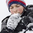 Boy Playing in Snow — Stock Photo