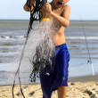 Boy with Fish Net — 图库照片