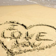 Love Message in Sand — Stockfoto