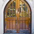 Impressive Wood Entrance Door — Stock Photo