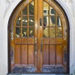 Impressive Wood Entrance Door - Stock Photo