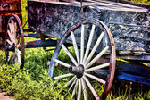 Wagon Wheel & Cart — Stock Photo