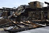 烧毁的完整视图餐厅 — 图库照片