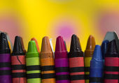 Used Crayons Closeup Backround — Stock Photo
