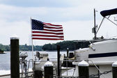 American Flag at Marina — Stock Photo