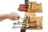 Tool belt with spanner and screwdriver — Stock Photo