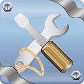 Vector image of spanner and screwdriver — Stock Photo
