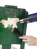 Removing paint using blowtorch and chisel — Stock Photo