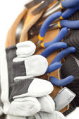 Macro image of a tool belt and hand gloves — Stock Photo
