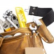 Tool belt with work tools on white background — Stock Photo