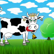 Royalty-Free Stock Vector Image: Cow on a background of green grass and the sky