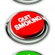 Quit smoking and no smoking button — Stock Photo