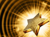 Gold star in the rays — Stock Photo