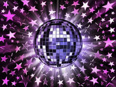 Mirrored disco ball and stars — Stock Photo