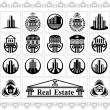 Set of stylized images of various houses and buildings — Stock Vector